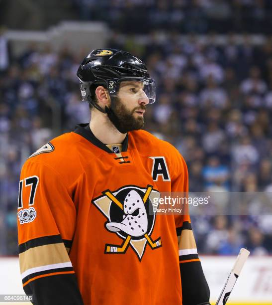 Ryan Kesler of the Anaheim Ducks looks on during a third period stoppage in play against the Winnipeg Jets at the MTS Centre on March 30 2017 in...