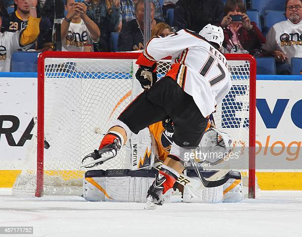 Ryan Kesler of the Anaheim Ducks scores a goal on a third period penalty shot against Michal Neuvirth of the Buffalo Sabres on October 13, 2014 at...