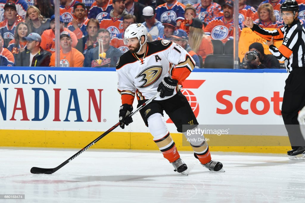 Ryan Kesler #17 of the Anaheim Ducks skates in Game Six of the Western Conference Second Round during the 2017 NHL Stanley Cup Playoffs against the Edmonton Oilers on MAY 7, 2017 at Rogers Place in Edmonton, Alberta, Canada.