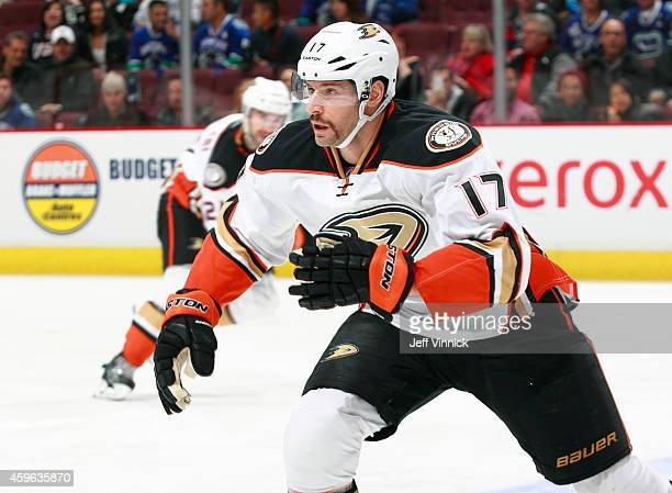 Ryan Kesler of the Anaheim Ducks skates up ice without a stick during their NHL game against the Vancouver Canucks at Rogers Arena November 20, 2014...