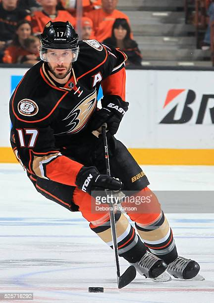 Ryan Kesler of the Anaheim Ducks skates with the puck in Game Five of the Western Conference First Round against the Nashville Predators during the...