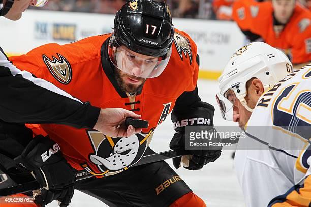 Ryan Kesler of the Anaheim Ducks takes a faceoff against Mike Ribeiro of the Nashville Predators on November 1 2015 at Honda Center in Anaheim...