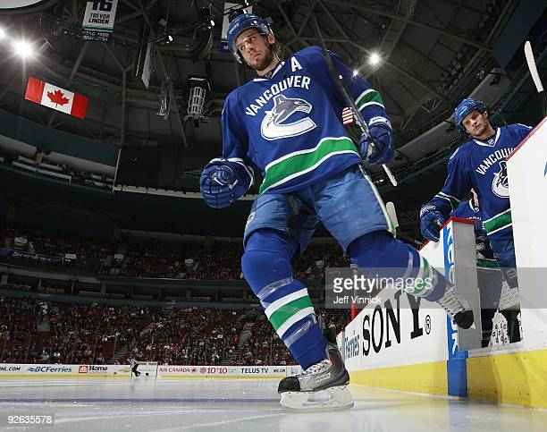Ryan Kesler of the Vancouver Canucks steps off the bench during their game against the Detroit Red Wings at General Motors Place on October 27, 2009...