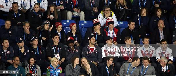 Ryan Kesler, Ryan Callahan, Derek Stepan and Cam Fowler of the United States sit next to Carey Price, P.K. Subban, Roberto Luongo, Sidney Crosby, Jay...
