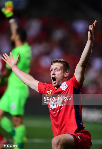 Ryan Kitto of Adelaide United appeals against a corner during the round 26 ALeague match between Adelaide United and Melbourne Victory at Coopers...