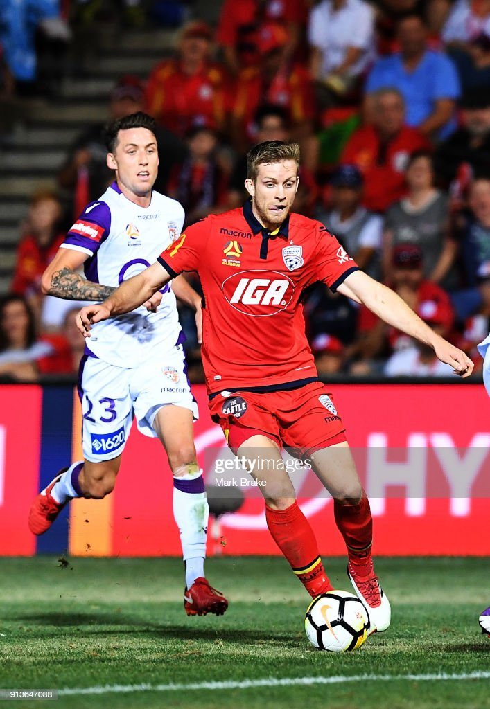Ryan Kitto of Adelaide United during the round 19 A-League match between Adelaide United and the Perth Glory at Coopers Stadium on February 3, 2018 in Adelaide, Australia.
