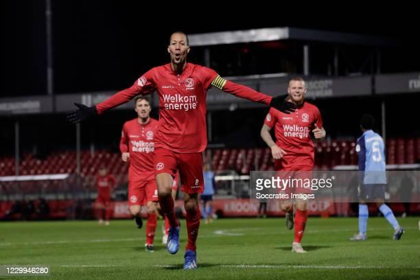 Ryan Koolwijk of Almere City Celebrates 2-1 during the Dutch Keuken Kampioen Divisie match between Almere City v Utrecht U23 at the Yanmar Stadium on...