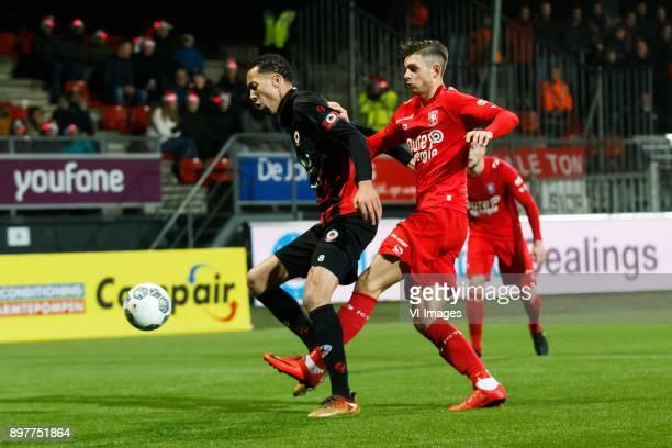 Ryan Koolwijk of Excelsior Alexander Laukart of FC Twente during the Dutch Eredivisie match between sbv Excelsior Rotterdam and FC Twente at Van...