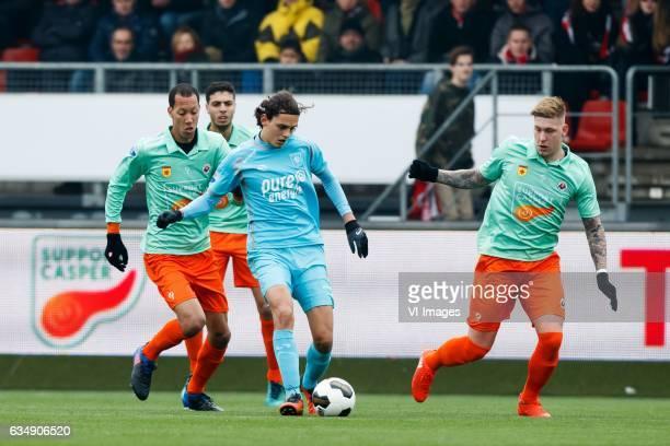 Ryan Koolwijk of Excelsior Hachim Faik of Excelsior Enes Unal of FC Twente Jordy de Wijs of Excelsiorduring the Dutch Eredivisie match between sbv...