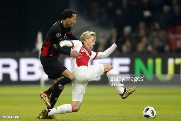 Ryan Koolwijk of Excelsior Kasper Dolberg of Ajax during the Dutch Eredivisie match between Ajax Amsterdam and sbv Excelsior at the Amsterdam Arena...