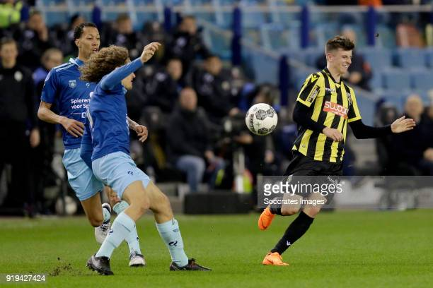 Ryan Koolwijk of Excelsior Wout Faes of Excelsior Mason Mount of Vitesse during the Dutch Eredivisie match between Vitesse v Excelsior at the...