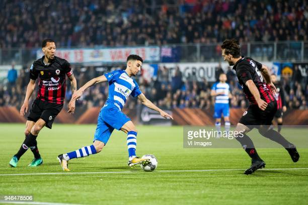 Ryan Koolwijk of sbv Excelsior Younes Namli of PEC Zwolle Milan Massop of sbv Excelsior during the Dutch Eredivisie match between PEC Zwolle and sbv...
