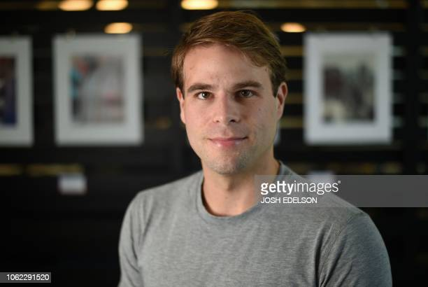 Ryan Kramer who cofounded the Donor Sibling Registry with his mother poses for a photo outside his office in South San Francisco California on...
