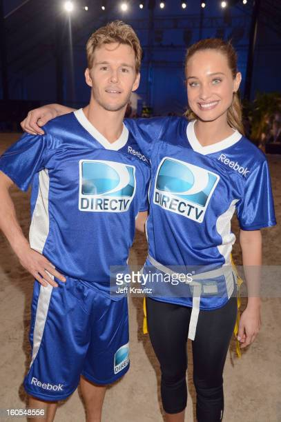 Ryan Kwanten and Hannah Davis attend DIRECTV'S 7th Annual Celebrity Beach Bowl at DTV SuperFan Stadium at Mardi Gras World on February 2 2013 in New...