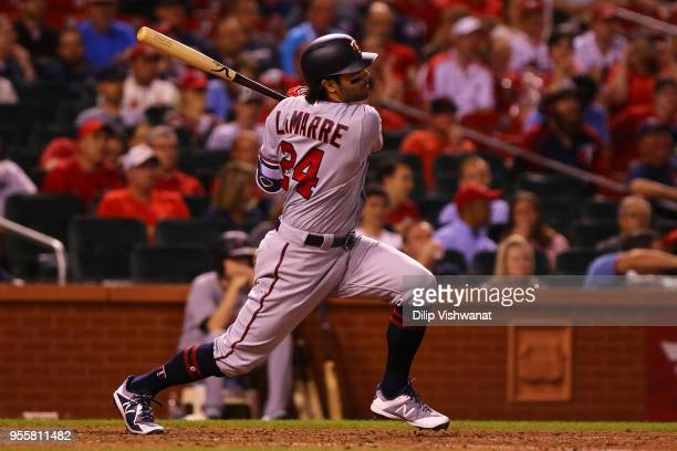 Ryan LaMarre of the Minnesota Twins hits a single against the St Louis Cardinals in the eighth inning at Busch Stadium on May 7 2018 in St Louis...