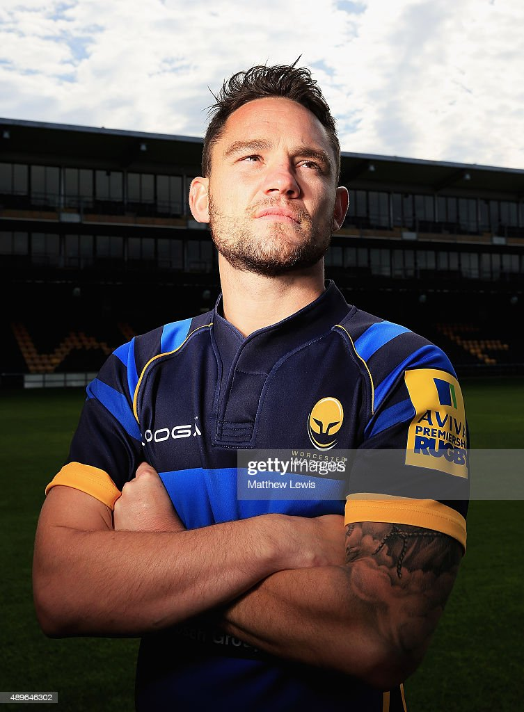 Ryan Lamb of Worcester Warriors poses for a portrait at the photocall held at Sixways Stadium on September 23, 2015 in Worcester, England.