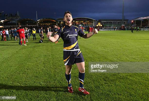Ryan Lamb of Worcester who converted the final try to win the match celebrates during the Greene King IPA Championship Final 2nd leg match between...