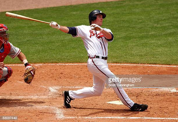 Ryan Langerhans of the Atlanta Braves hits against the Philadelphia Phillies at Turner Field on May 28 2005 in Atlanta GeorgiaThe Phillies won the...