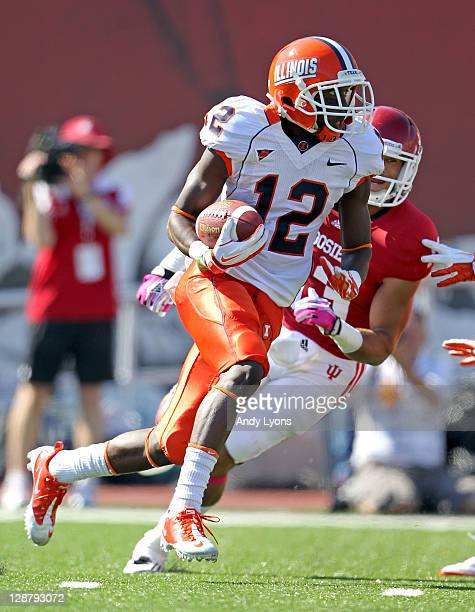 Ryan Lankford of the Illinois Illini runs with the ball during the game against the Indiana Hoosiers at Memorial Stadium on October 8 2011 in...