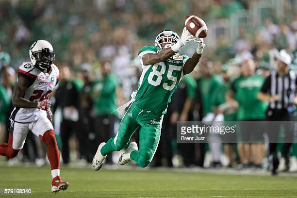 Ryan Lankford of the Saskatchewan Roughriders lays out to try and make a catch in the game between the Ottawa Redblacks and the Saskatchewan...