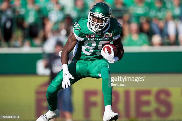 Ryan Lankford of the Saskatchewan Roughriders with the ball in the game between the Calgary Stampeders and Saskatchewan Roughriders at Mosaic Stadium...
