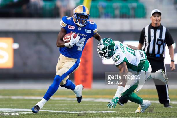Ryan Lankford of the Winnipeg Blue Bombers returns a kick in the preseason game between the Winnipeg Blue Bombers and Saskatchewan Roughriders at...