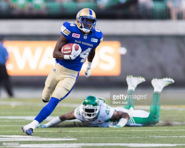 Ryan Lankford of the Winnipeg Blue Bombers returns a punt in the first half of the preseason game between the Winnipeg Blue Bombers and Saskatchewan...