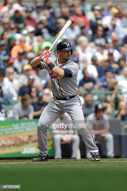 Ryan Lavarnway of the Atlanta Braves gets ready for the next pitch during the game against the Milwaukee Brewers at Miller Park on July 08, 2015 in...