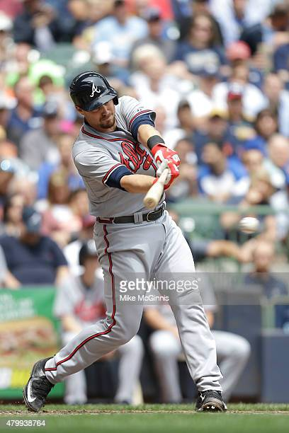 Ryan Lavarnway of the Atlanta Braves hits a single in the third inning against the Milwaukee Brewers at Miller Park on July 08, 2015 in Milwaukee,...