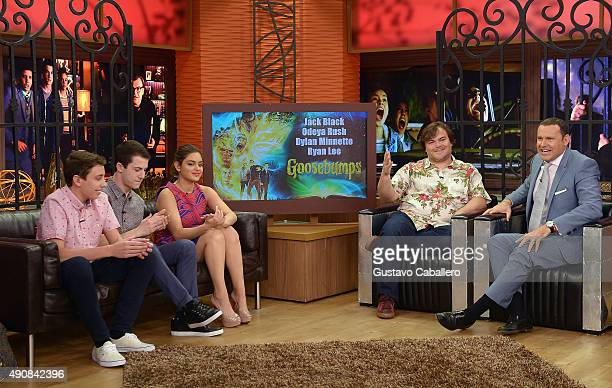 Ryan Lee Dylan Minette Odeya Rush Jack Black and Alan Tache are seen during on the set Of Univisions Despierta America to promote the film Goosebumps...