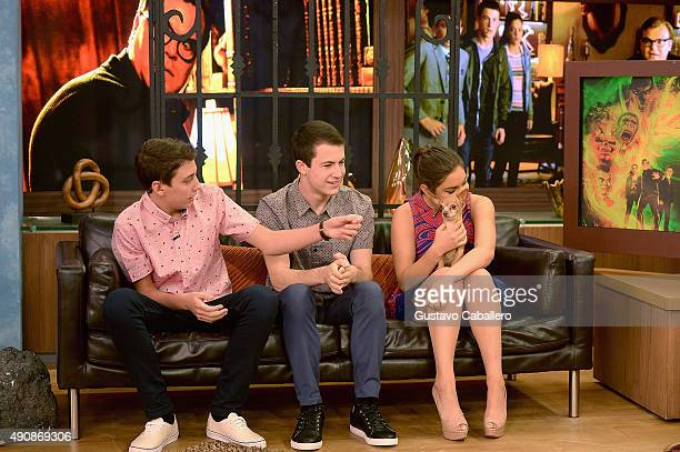 Ryan LeeDylan Minette and Odeya Rush are seen on the set Of Univisions Despierta America to promote the film Goosebumps at Univision Studios on...