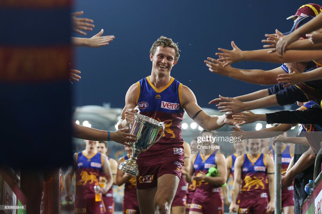 Ryan Lester of the Lions celebrates winning the round 21 AFL match between the Brisbane Lions and the Gold Coast Suns at The Gabba on August 12, 2017 in Brisbane, Australia.