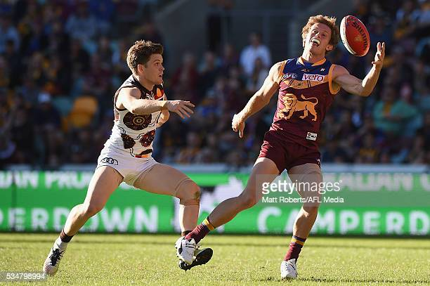 Ryan Lester of the Lions competes for the ball during the round 10 AFL match between the Brisbane Lions and the Hawthorn Hawks at The Gabba on May 28...