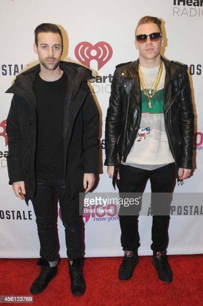 Ryan Lewis and Macklemore pose backstage at Z100's Jingle Ball 2013 presented by Aeropostale at Madison Square Garden on December 13 2013 in New York...