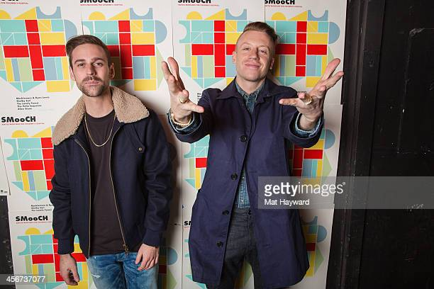 Ryan Lewis and Macklemore pose for a photo backstage during the Seattle Musicians for Childrens Hospital benefit at The Showbox Market on December...