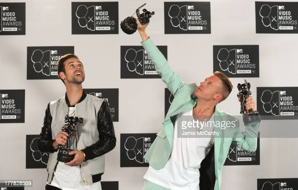 Ryan Lewis and Macklemore pose in the press room with the Best Hip Hop Video and Best Cinematography awards the 2013 MTV Video Music Awards at the...