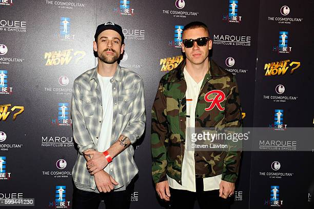 DJ Ryan Lewis and rapper Macklemore attend the third annual HartBeat Weekend at The Boulevard Pool at The Cosmopolitan of Las Vegas on September 4...