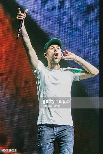 Ryan Lewis of Macklemore & Ryan Lewis performs on stage at Manchester Arena on April 12, 2016 in Manchester, England.