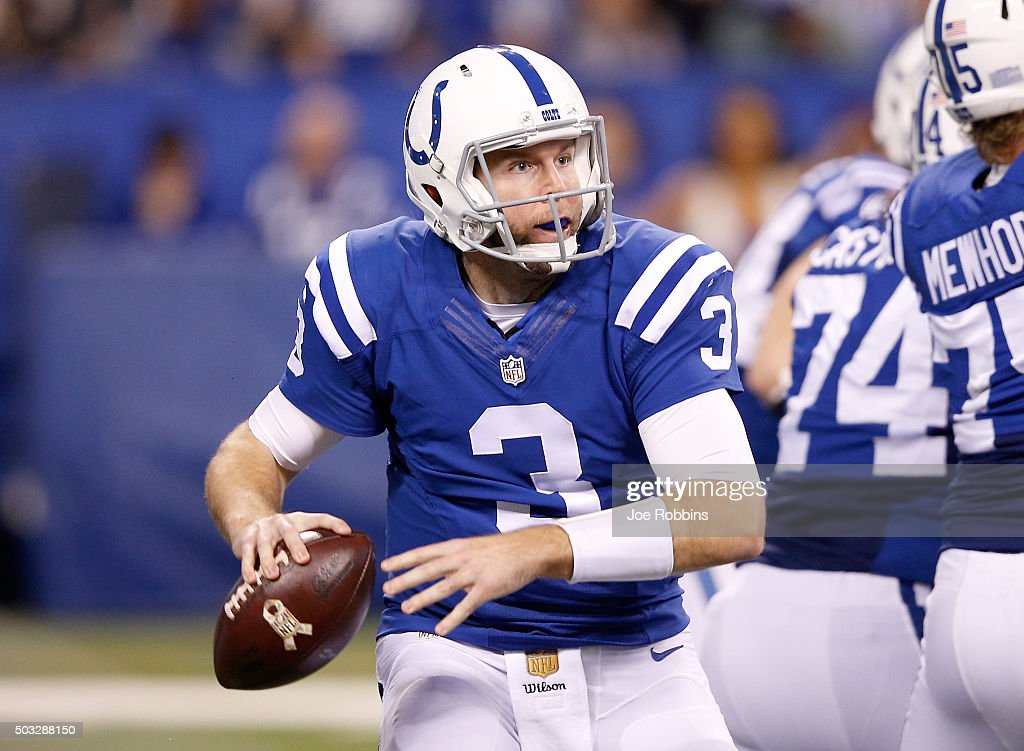 Ryan Lindley #3 of the Indianapolis Colts looks for an open receiver during the game against the Tennessee Titans at Lucas Oil Stadium on January 3, 2016 in Indianapolis, Indiana.