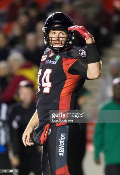 Ryan Lindley quarterback of the Ottawa Redblacks signals to his receivers against the Saskatchewan Roughriders The Saskatchewan Rough Riders defeated...