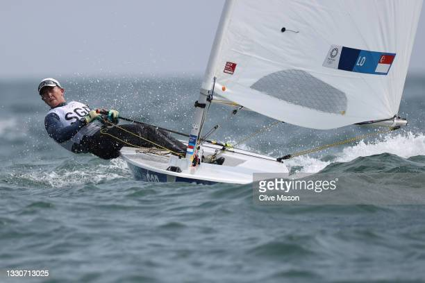 Ryan Lo of Team Singapore competes in the Men's Laser class on day three of the Tokyo 2020 Olympic Games at Enoshima Yacht Harbour on July 26, 2021...