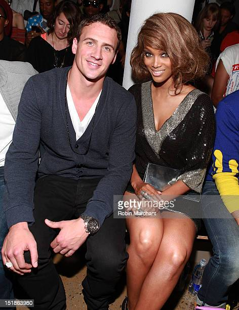 Ryan Lochte and Tyra Banks attend the Jeremy Scott show during Spring 2013 MADE Fashion Week Milk Studios on September 12 2012 in New York City