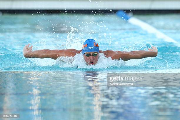 Ryan Lochte competes in the men's 100 meter butterfly on Day Two of the Santa Clara International Grand Prix at the George F Haines International...