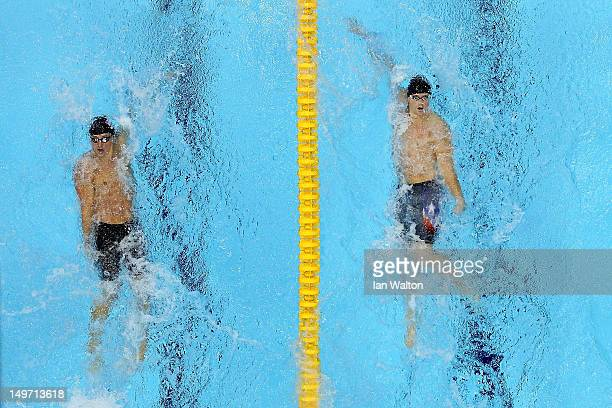 Ryan Lochte of the United States and Tyler Clary of the United States compete in the Men's 200m Backstroke final on Day 6 of the London 2012 Olympic...