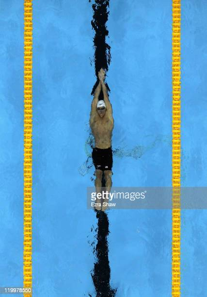 Ryan Lochte of the United States competes in heat three of the Men's 200m Backstroke heats during Day Thirteen of the 14th FINA World Championships...