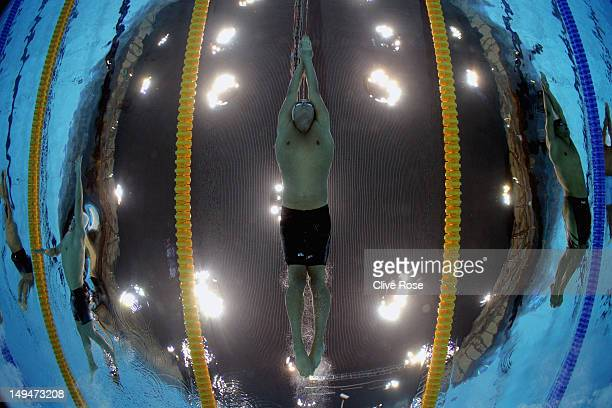 Ryan Lochte of the United States competes in the Men's 200m Freestyle heat 5 on Day 2 of the London 2012 Olympic Games at the Aquatics Centre on July...