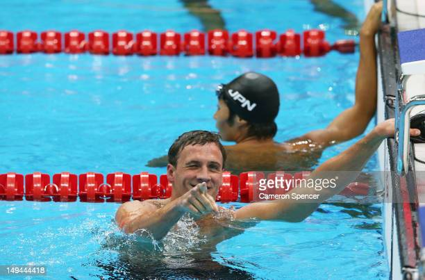 Ryan Lochte of the United States reacts after he won the Final of the Men's 400m Individual Medley on Day 1 of the London 2012 Olympic Games at the...