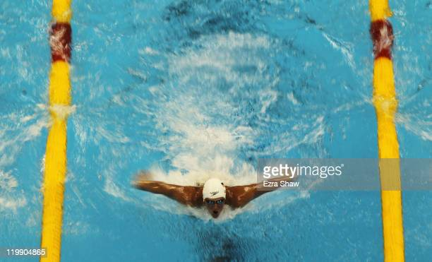 Ryan Lochte of the United States swims thebutterfly leg in heat six of the Men's 200m Individual Medley heats during Day Twelve of the 14th FINA...