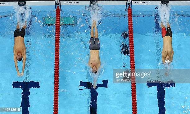 Ryan Lochte of the United States Tyler Clary of the United States and Fenglin Zhang of China compete in the Men's 200m Backstroke final on Day 6 of...
