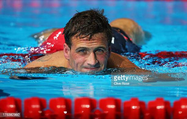 Ryan Lochte of the USA exits the pool after competing in the Swimming Men's Butterfly 100m Final on day fifteen of the 15th FINA World Championships...